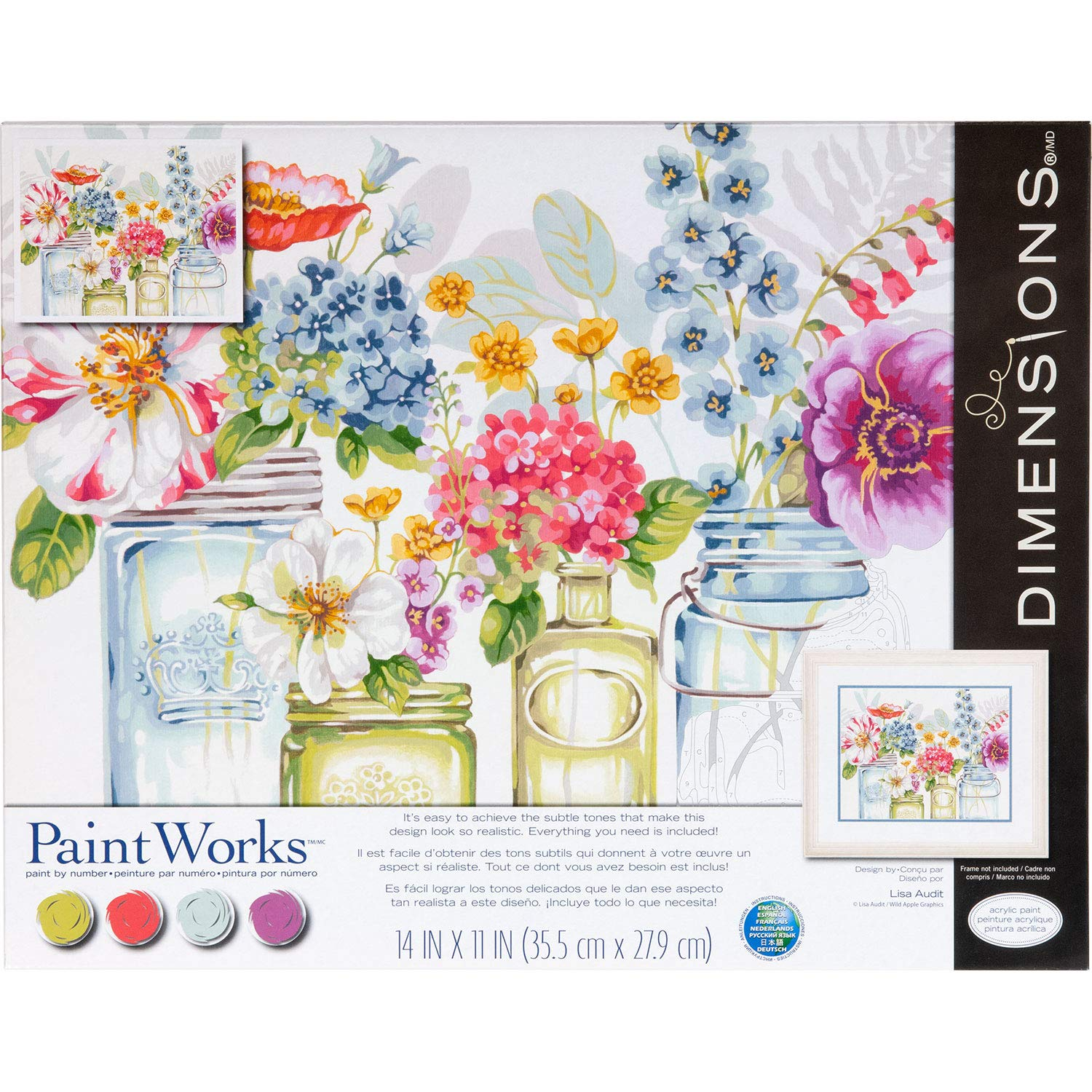 Dimensions 73-91730 PaintWorks Paint by Numbers Kit for Adults and Kids, Rainbow Flowers, 14'' x 11'' by Dimensions