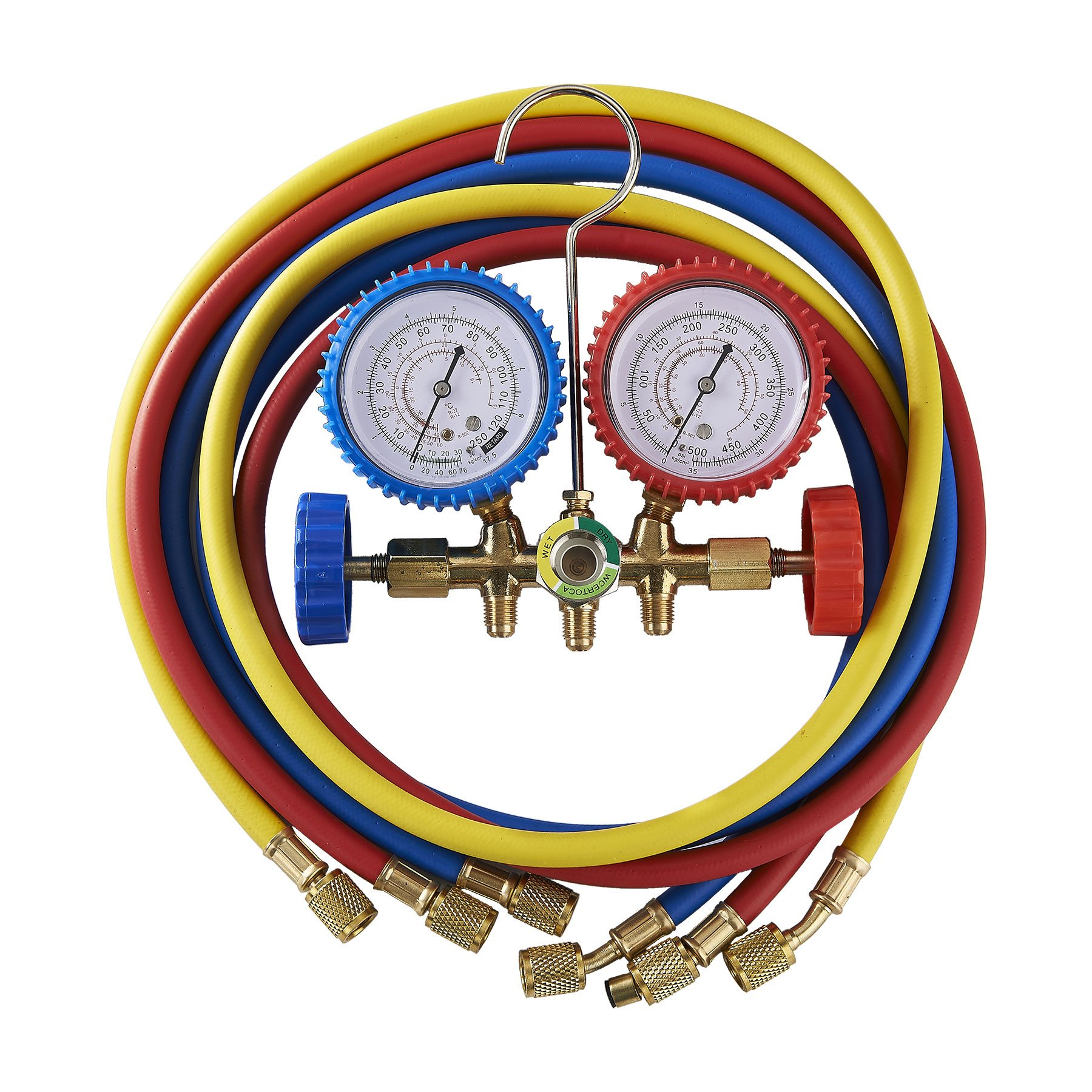 OrionMotorTech 5FT AC Diagnostic Manifold Freon Gauge Set for R12, R22, R502 Refrigerants, without Couplers