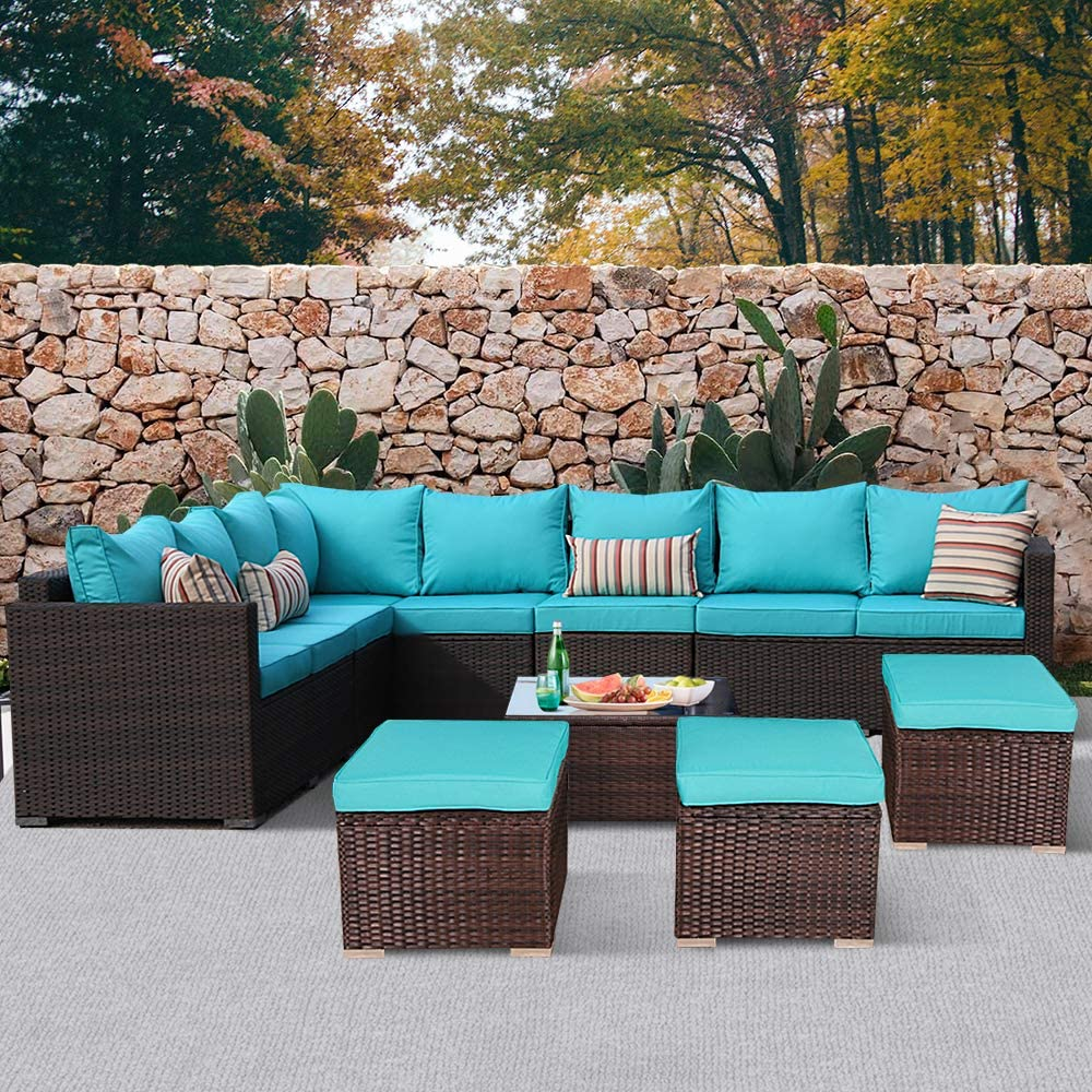 JETIME Patio Furniture Outdoor Conversation Set 9pcs Garden Seating Outside Couch Brown PE Wicker (Turquoise)
