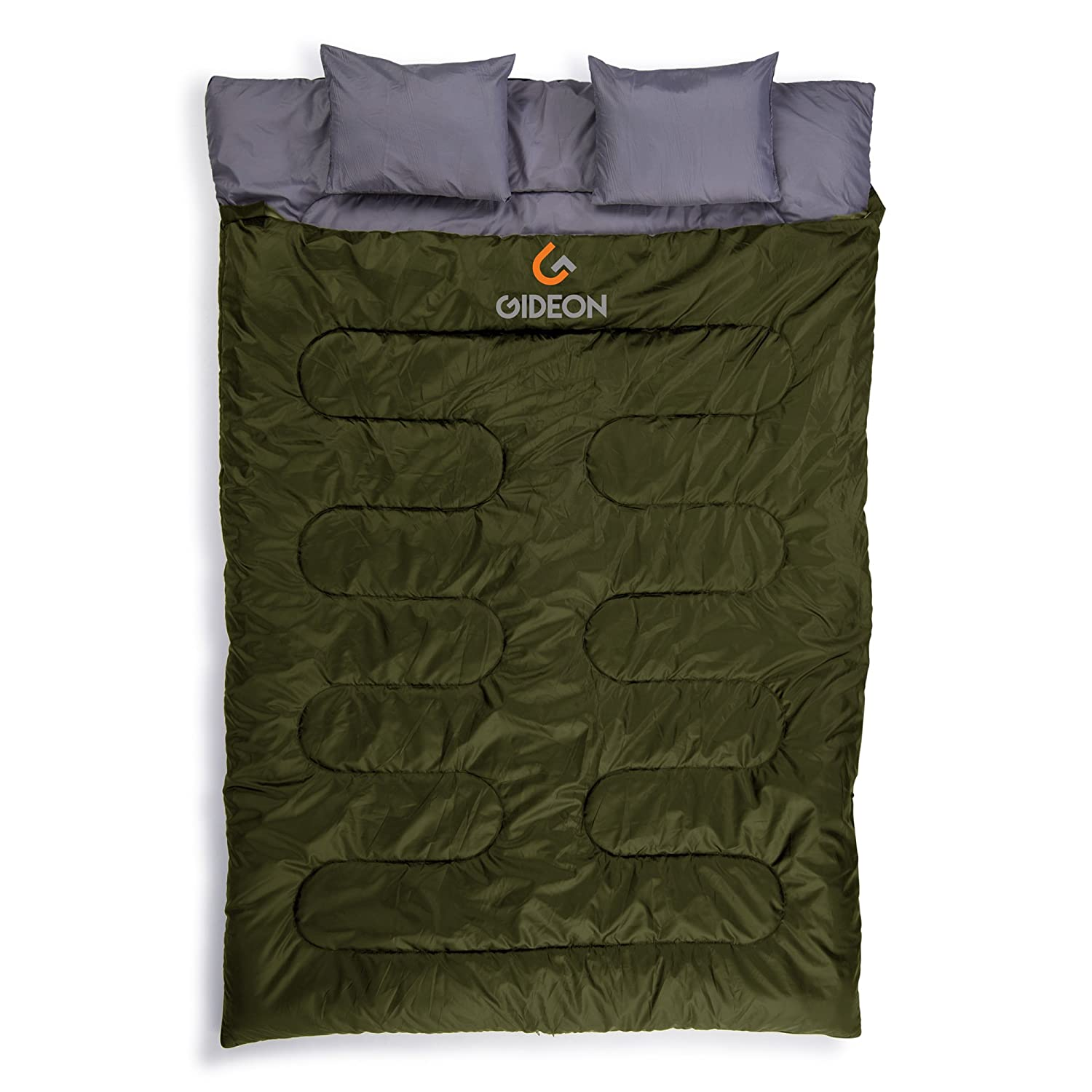 Gideon Waterproof Double Sleeping Bag with 2 Pillows Amazingly Lightweight, Compact, Comfortable Warm for Backpacking, Camping, etc. Double Size or Convert into 2-Single Bags