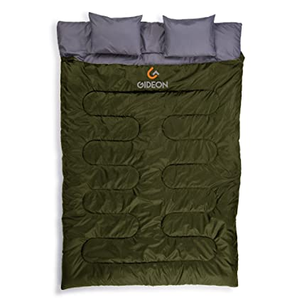 on sale 5af98 42ba5 Gideon Waterproof Double Sleeping Bag with 2 Pillows – Amazingly  Lightweight, Compact, Comfortable & Warm – for Backpacking, Camping, etc.  Double Size ...