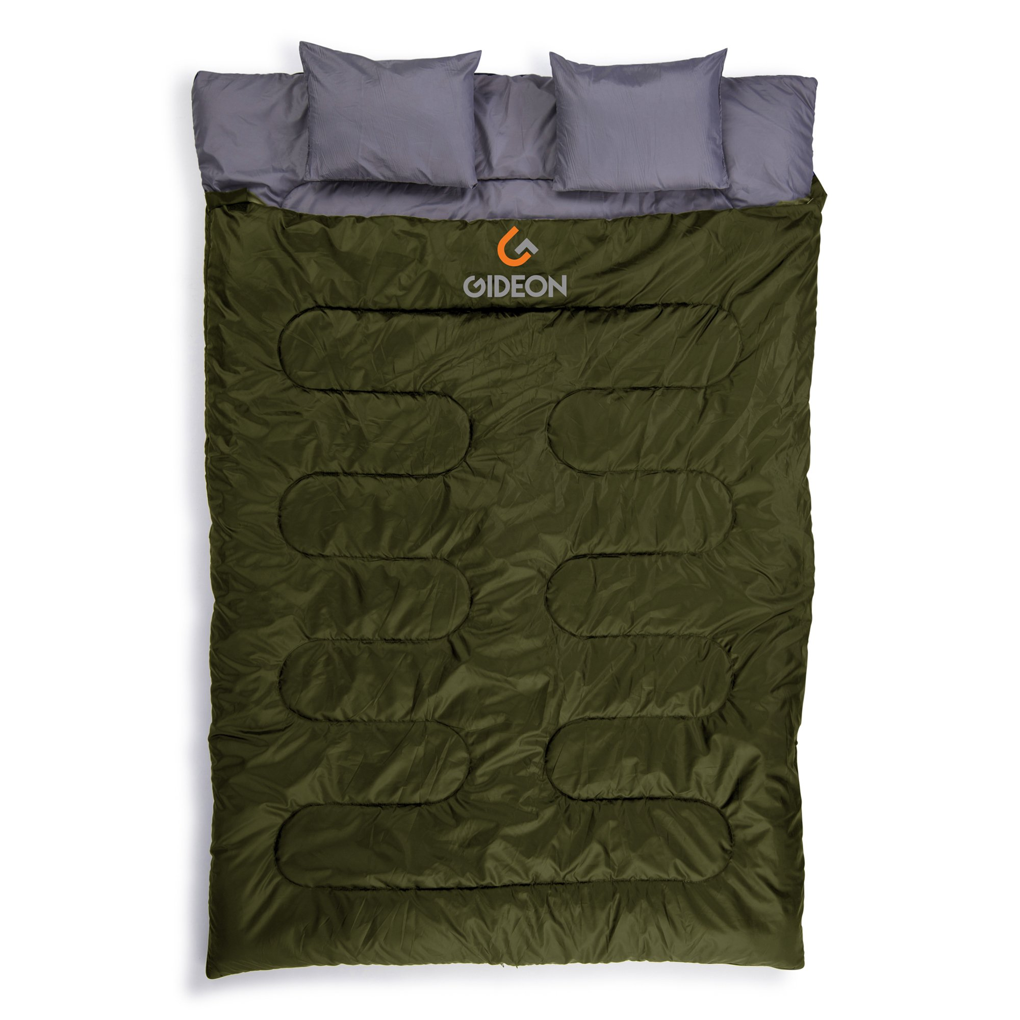 Gideon Extreme Waterproof Backpacking Double Sleeping Bag 2 Pillows – Amazingly Lightweight, Compact, Comfortable & Warm Backpacking, Camping, etc. Double Size Convert into 2-Single Bags by Gideon