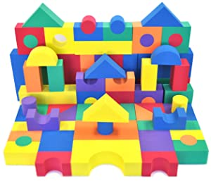 EWONDERWORLD 70 Piece Non Toxic Foam Building Wonder Blocks – STEM Toy for Toddlers and Kids, Early Development Educational Soft Foam Blocks, Childrens Stacking Playtime Blocks