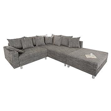 Ecksofa grau  Design Ecksofa mit Hocker LOFT Strukturstoff grau Federkern Sofa ...