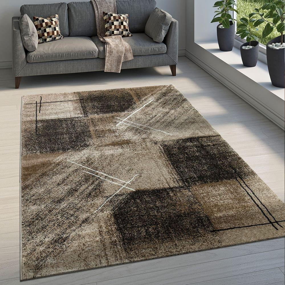 Paco Home Edler Designer Wohnzimmer Teppich Kurzflor Farbverlauf Karo Muster Braun, Grösse 200x290 cm