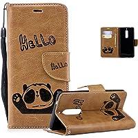 Vectady für Nokia 5 Hülle, Handyhülle Ledertasche Handytasche Case Klapphülle Hüllen Magnet Leder Geldbörse Cover Kunstleder mit Muster Lederhülle für Nokia 5,Braun