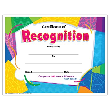 recognition certificate  Amazon.com: Trend Enterprises Certificate of Recognition, 30/pkg ...