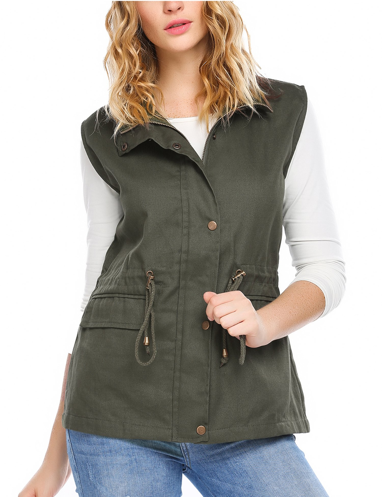Zeagoo Womens Casual Work Utility Hunting Travels Sports Vest with Pockets, Army Green, XL