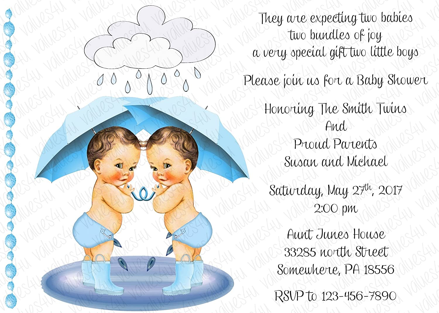 Amazon Com Personalized Baby Shower Invitation Twins Twin Boys