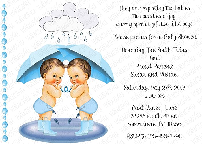 Amazon personalized baby shower invitation twins twin boys personalized baby shower invitation twins twin boys 1294 sold in packs of 12 filmwisefo