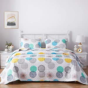 SunStyle Home 3 Piece Bed Quilt Set Queen/Full Size, Lightweight Microfiber Soft Coverlet Reversible Quilted Pattern Bedspreads Comforter Set for All Season (1 Quilt + 2 Sham, Colorful Dots)