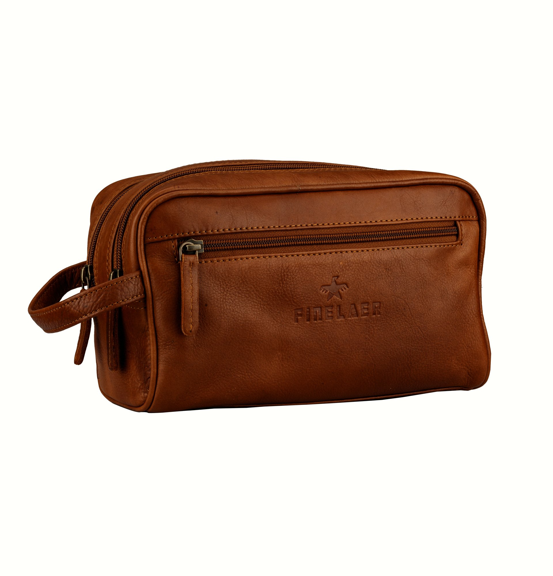 Finelaer Men Brown Leather Toiletry Travel Dopp Bag by FINELAER (Image #2)