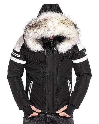 41789b0affbb BLZ Jeans - Blouson Capuche Fourrure et empiècement Simili Cuir Blanc -  Couleur  Noir -