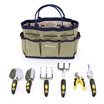 Amazon.com : SONGMICS 7 Piece Garden Tool Set Includes Garden Tote ...