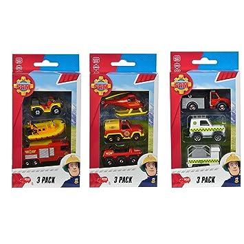 Feuerwehrmann Sam Fahrzeugset 3-Teilig Metallfahrzeuge Spielzeugautos