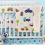 Brandream Cars Vehicles Crib Bedding for Boys Baby Cotton Nursery Bedding, Blue & White, 4 Pieces