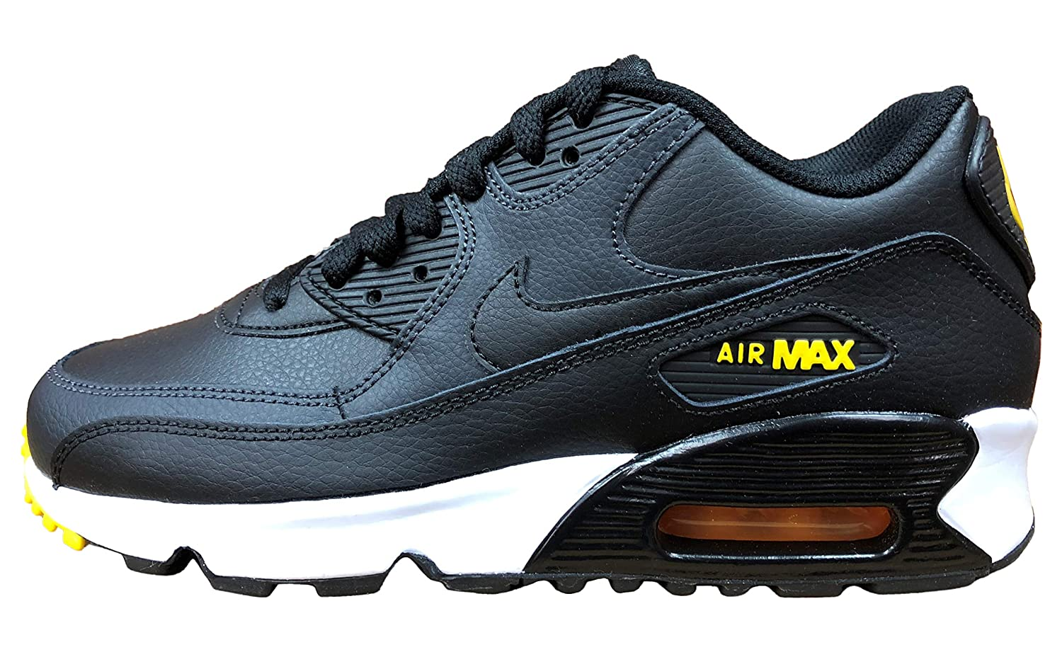 detailed look 1dde0 d578f Amazon.com   Nike Air Max 90 Leather Black Amarillo-Anthracite (GS)    Sneakers
