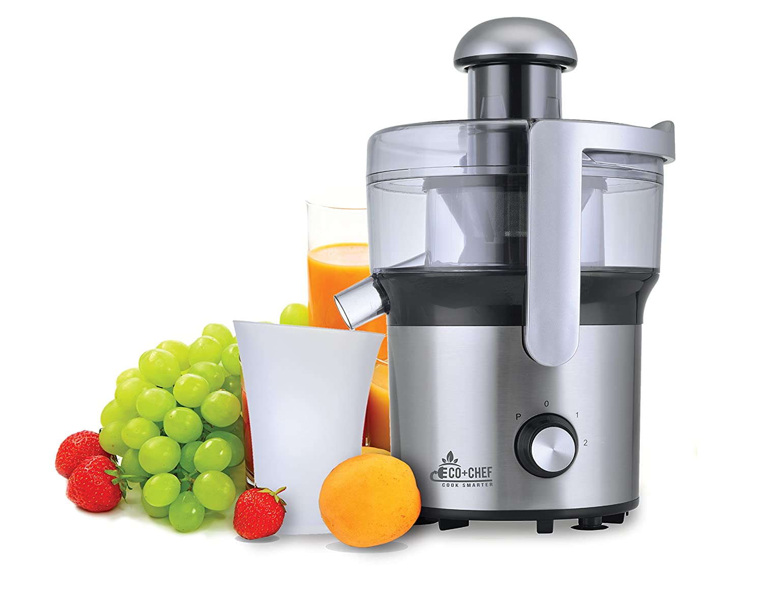 Eco+Chef Stainless 300W Dual Speed Steel Centrifugal Juicer for Fruit and Vegetables, Apples Oranges Pears Grapes Strawberries Blueberries Watermelon Mango Pineapple Peach Plums Nectarines Papaya Eco Chef