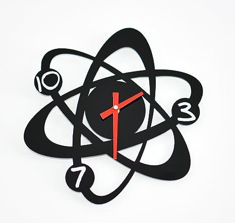 Reloj de pared original átomo, moderno, metacrilato, silencioso