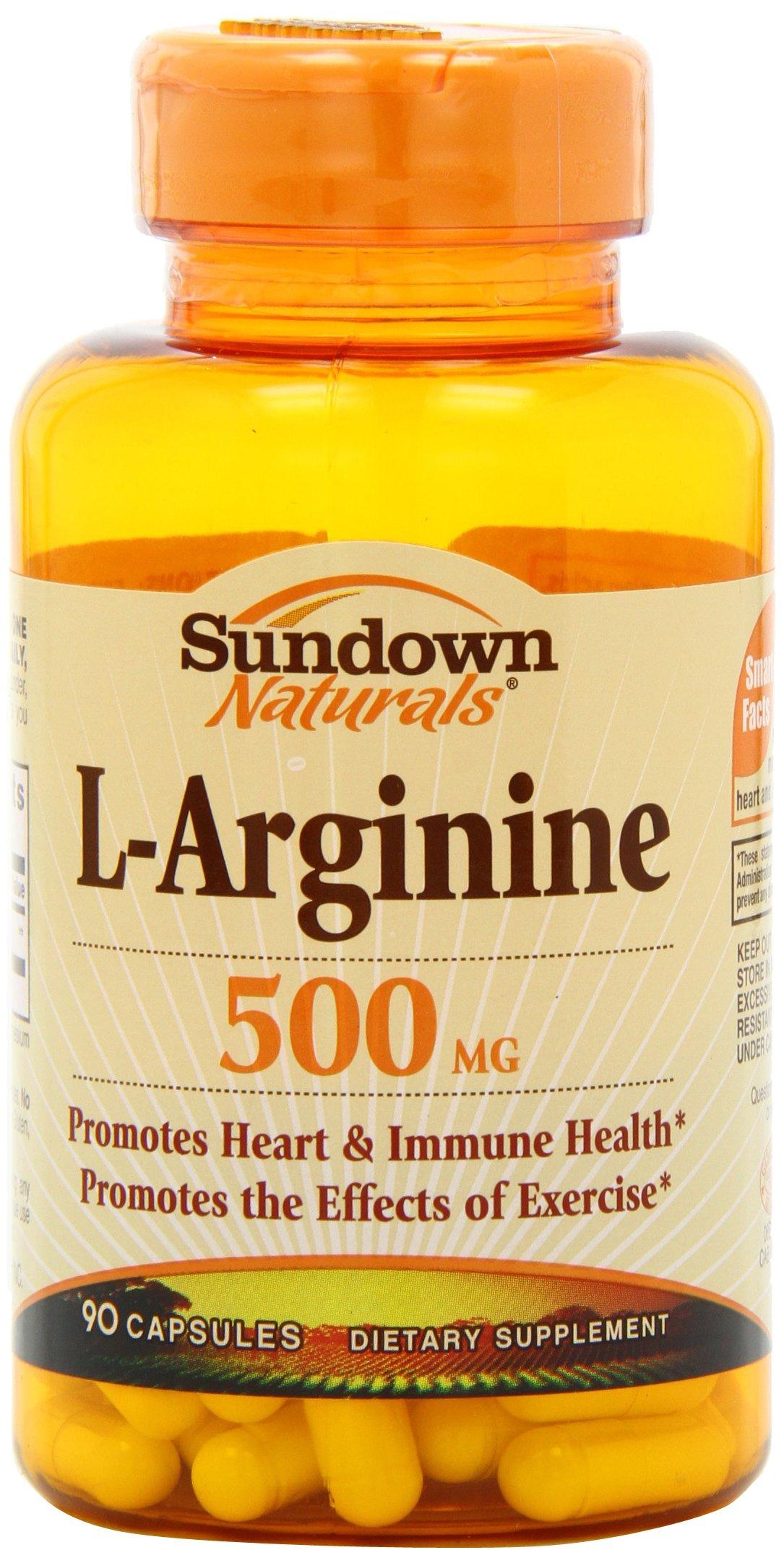 Sundown Naturals L-Arginine 500 mg, 90 Capsules (Pack of 2)