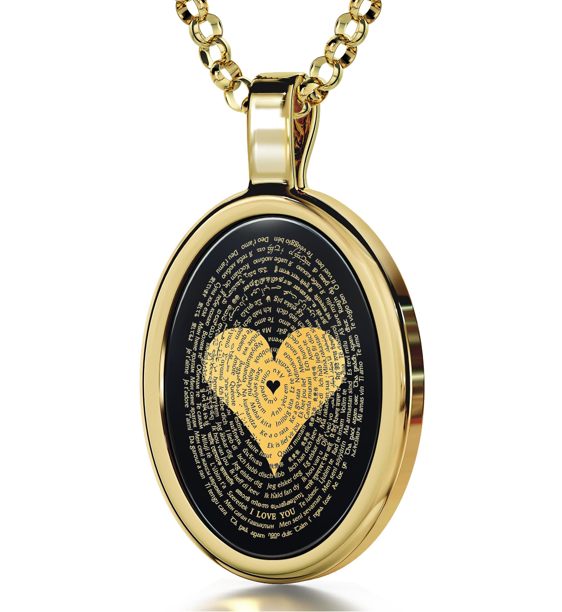 Gold Plated Love Necklace Pendant 24k Gold Inscribed I Love You in 120 Languages Onyx, 18'' Gold Filled