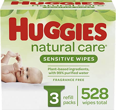 Huggies Natural Care Sensitive Baby Wipes, Unscented, 3 Refill Packs (528 Wipes Total)