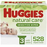 Baby Wipes, Huggies Natural Care Sensitive, UNSCENTED, Hypoallergenic, 3 Refill Packs, 528 Count