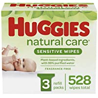 Huggies Natural Care Sensitive Baby Wipes, Unscented, 3 Refill Packs (528 Wipes...