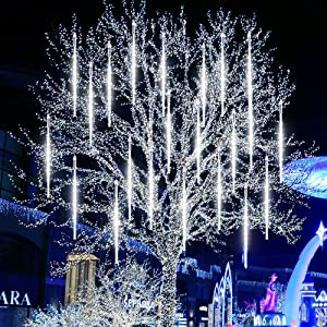 Meteor Shower Rain Lights LETOUR Upgraded 30cm 10 Tubes 300 LED 1000 Lumens Falling Rain Drop Christmas Light IP44 Waterproof Icicle String Lights for Holiday Party Wedding Christmas Tree Decoration
