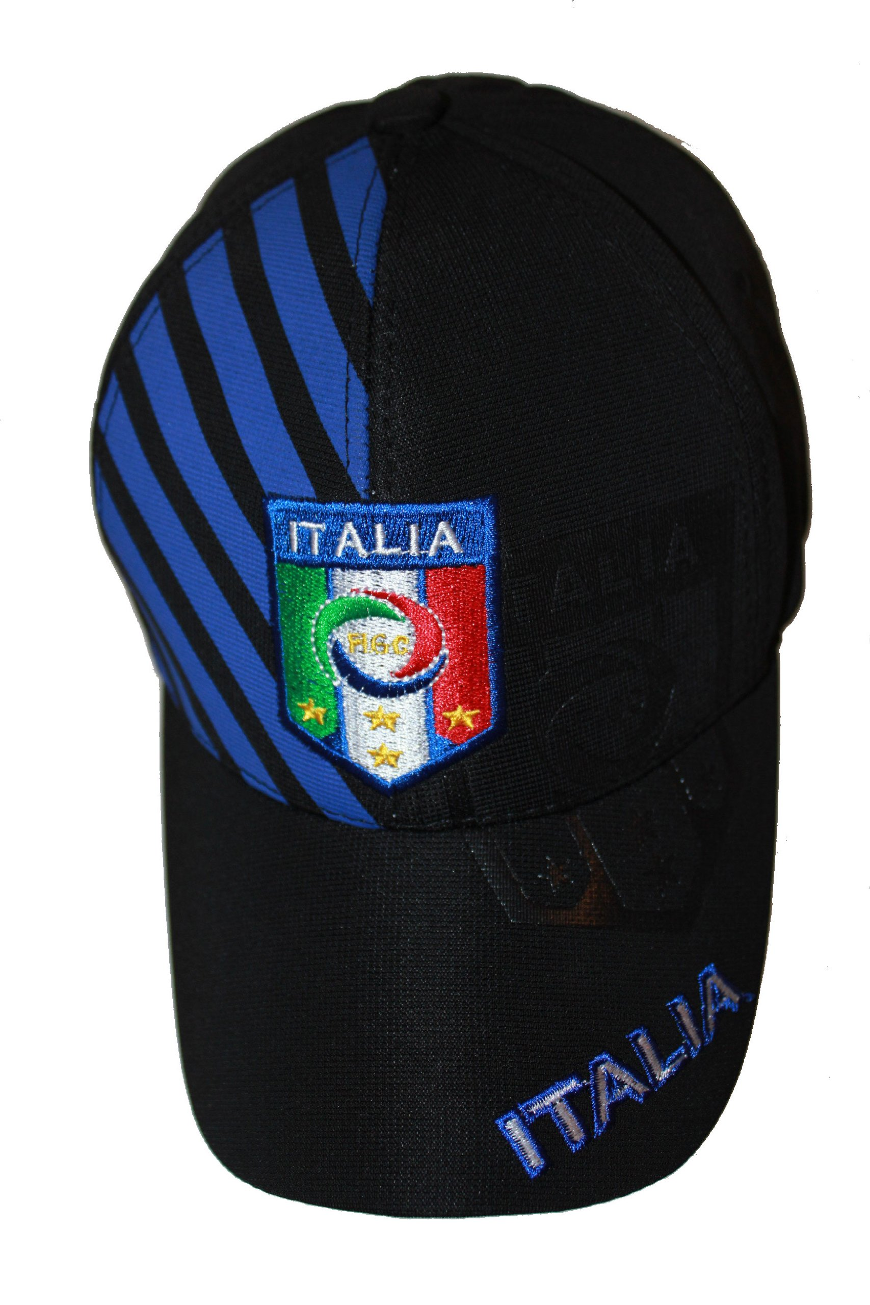 Italia Italy Black With Blue Stripes .. FIGC Logo FIFA Soccer World Cup .. FlexFit Hat Cap .. .. New