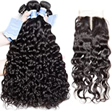 """VIPbeauty Malaysian 10A Water Wave Hair Bundles with 8inch Middle Part 4x4"""" Lace Hair Closure Piece Natural Black Remy Hair Extensions (10 12 14+8inch)"""