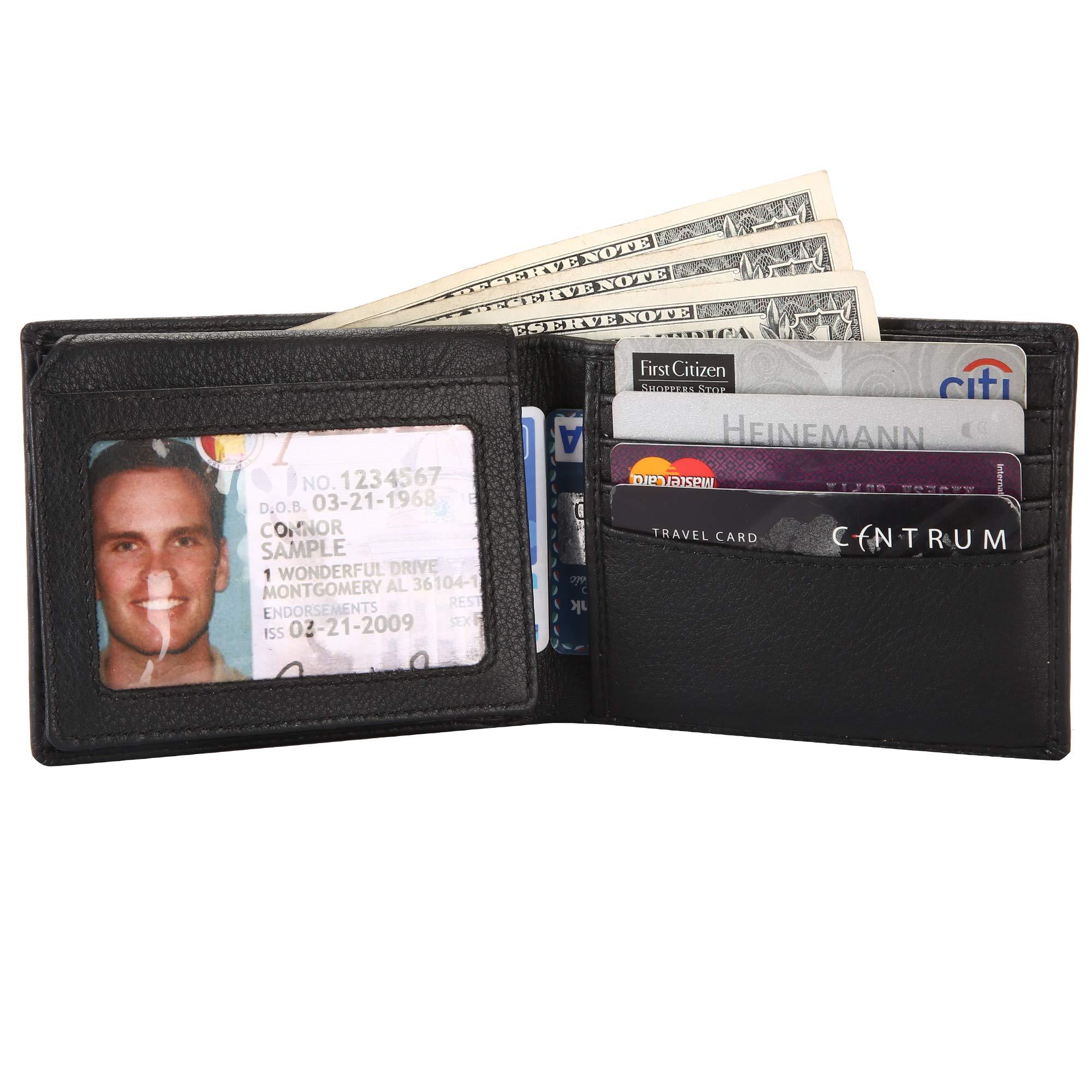 RFID Leather Bifold Wallets for Men - Slim Front Pocket Secure Credit Card Holder with ID Window Mens Wallet Gift Box (Black)