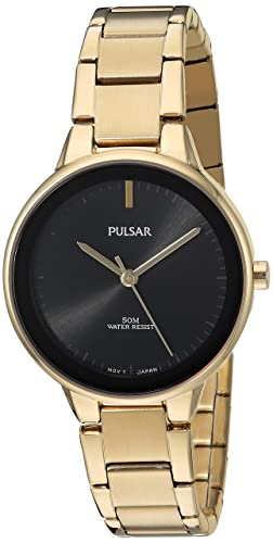 Pulsar Womens Quartz Brass and Stainless Steel Dress Watch, Color:Gold-Toned (