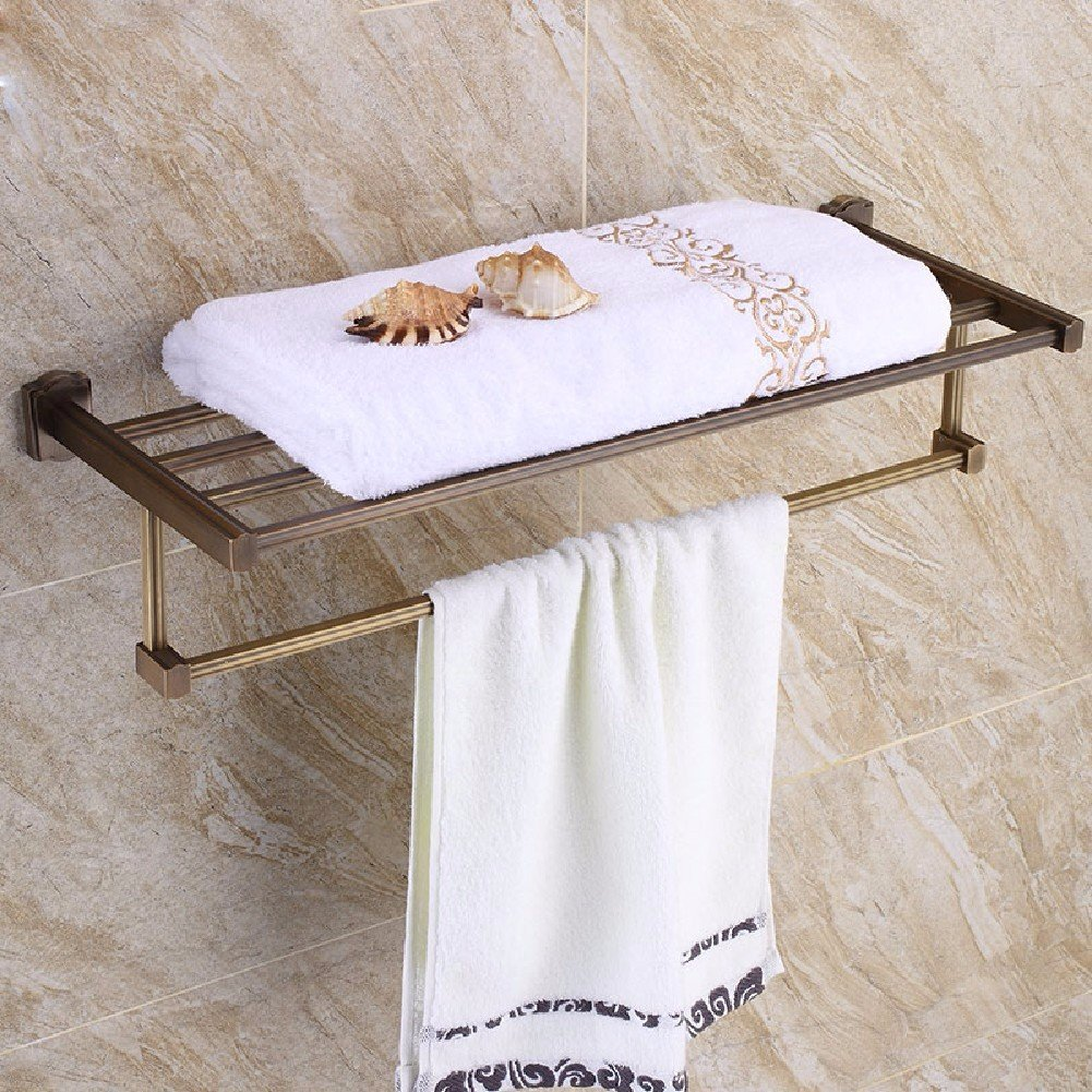HQLCX Bath Towel Bar, All Copper Retro European And American Double Towel Bar