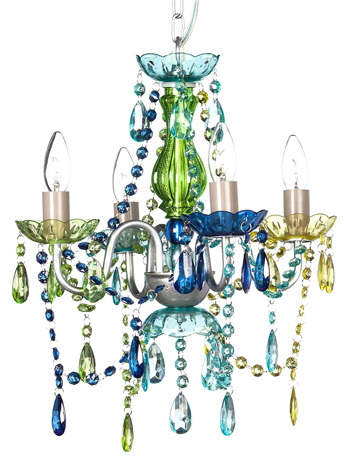 """The Original Gypsy Color 4 Light Small Gypsy Chandelier for H 17.5"""" x W 15"""", Silver Metal Frame with Blue Green Multicolor Acrylic Crystals"""