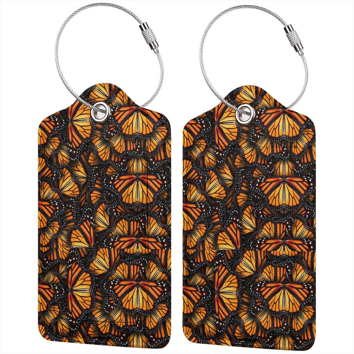 Heaps Of Orange Monarch Butterflies Leather Luggage Tags Personalized Address Card With Privacy Flap