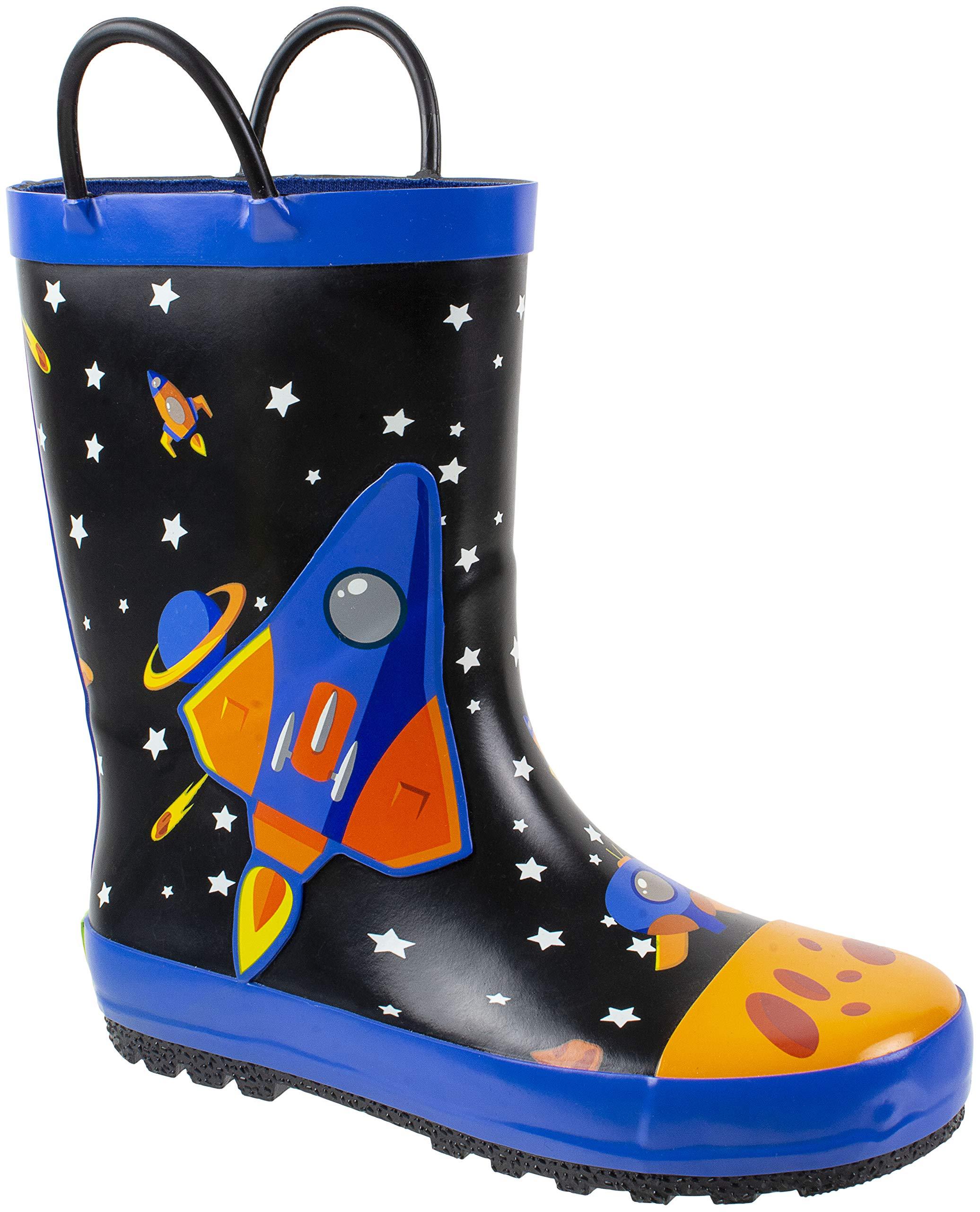 Rainbow Daze Kids Rain Boots Spaceship,Astronaut Galaxy Print,Waterproof 100% Rubber,Little Kid Size 9/10, Black Blue