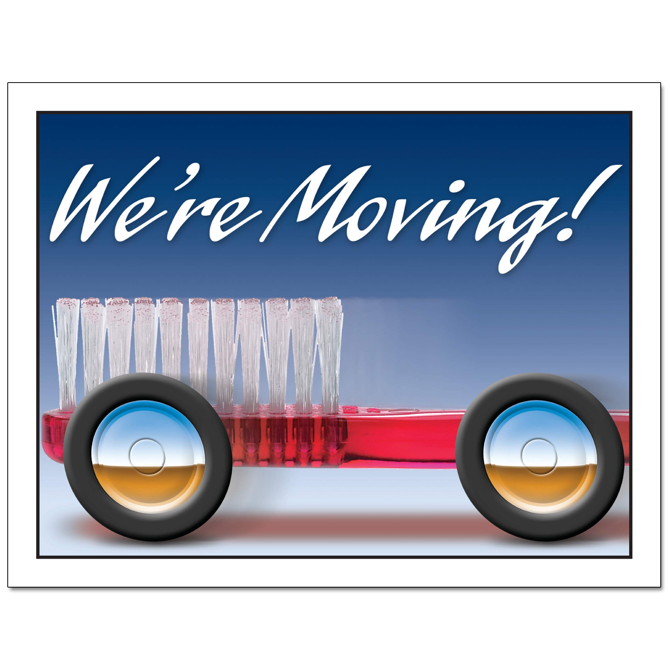Laser Reminder Moving Notice Postcards, Dental Moving Notice Postcards. 4 Cards Perforated for Tear-Off at 4.25'' x 5.5'' on an 8.5'' x 11'' Sheet of 8 Pt Card Stock. MOV520LZS (1000) by Custom Recall (Image #3)