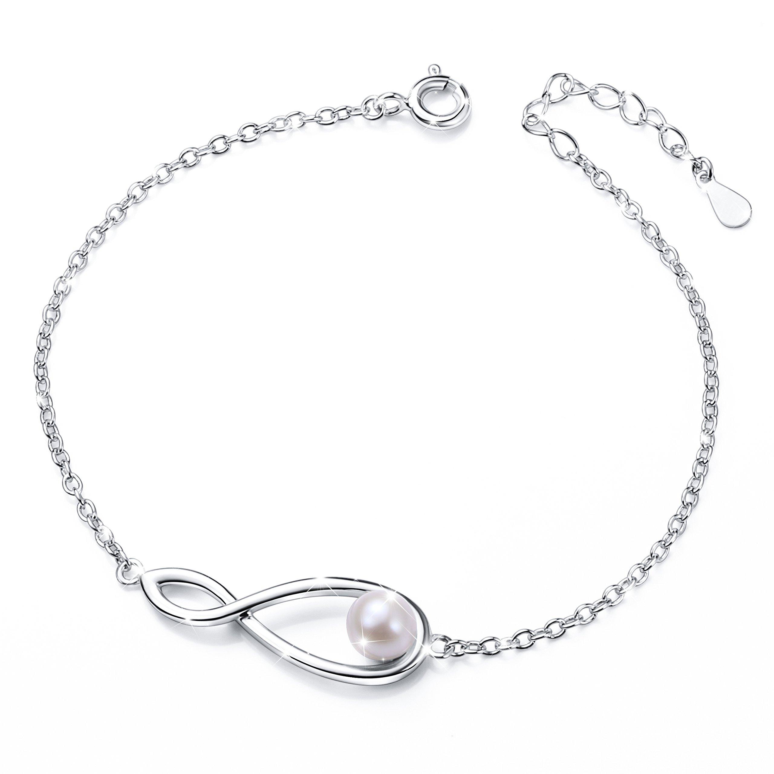 925 Sterling Silver Freshwater Cultured Pearl Adjustable Infinity Bracelet Women by DAOCHONG