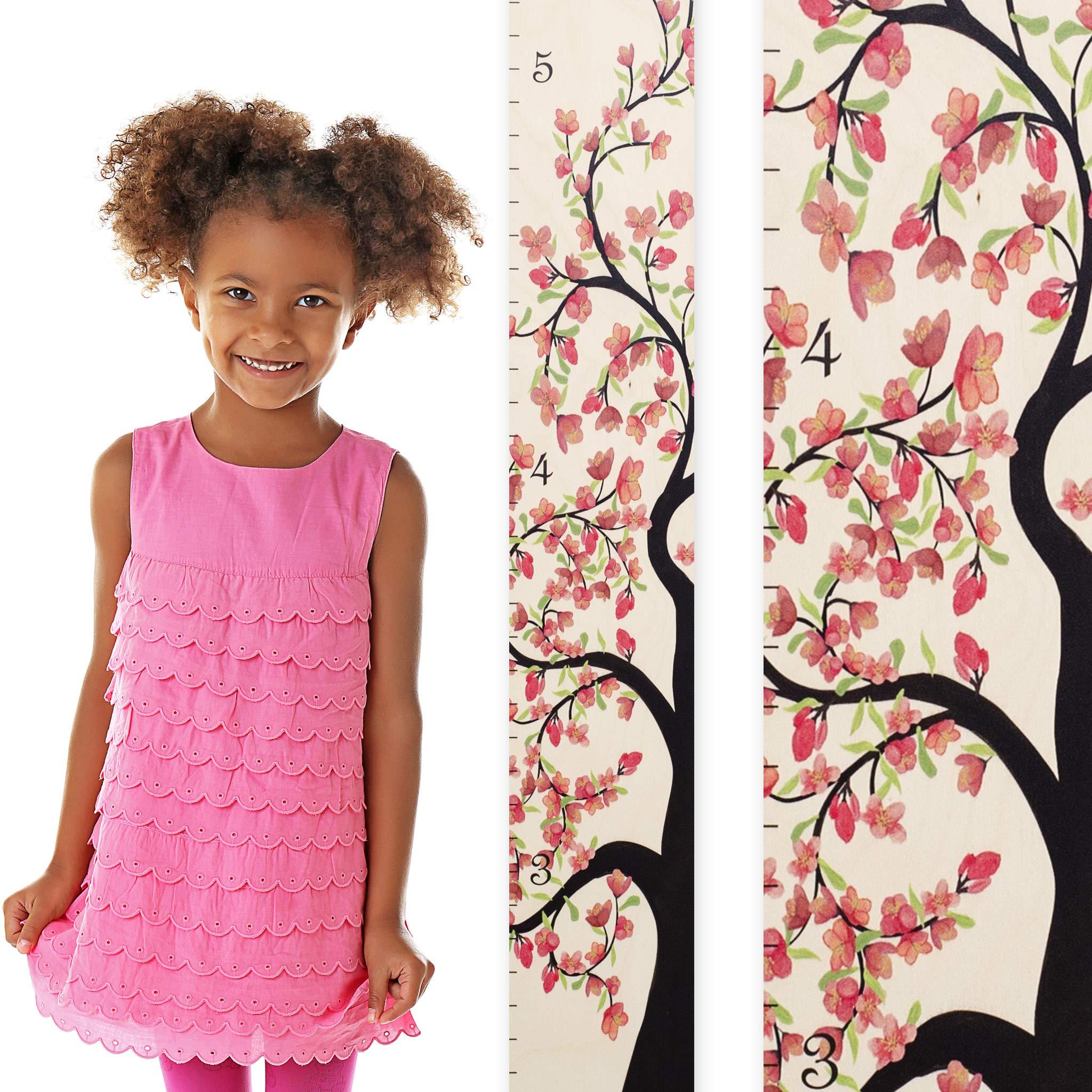 Growth Chart Art   Wooden Growth Chart Girls   Measuring Kids Height Wall Décor   Flower Growth Chart Ruler   Tree of Life Pink