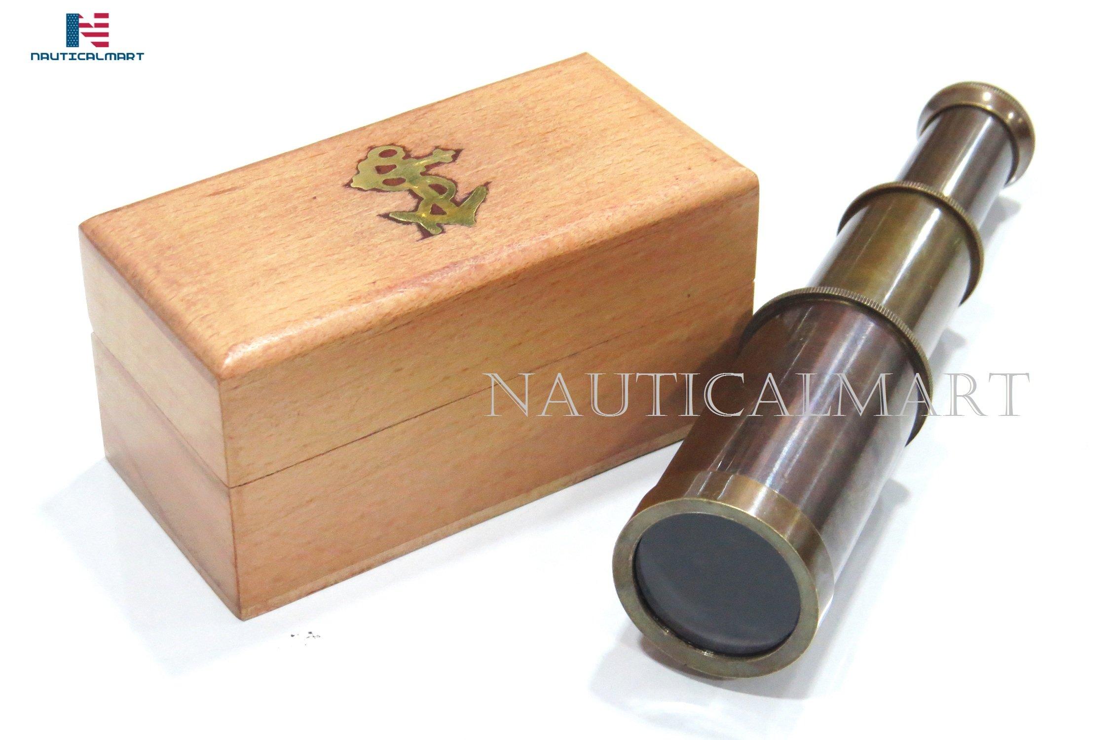 NauticalMart Spyglass Antique Brass Telescope Toy 6'' With Wooden Box