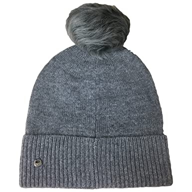 a1550d8f UGG WOMEN'S LUXE CUFF HAT W/ OVERSIZED TOSCANA POM (MEDIUM GREY HEATHER) at  Amazon Women's Clothing store: