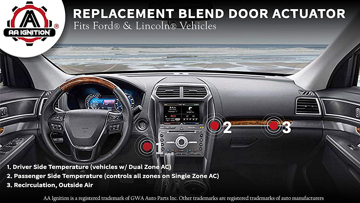 Blend Door Actuator - Replaces AA5Z-19E616-C, YH-1779, 604-234 - Fits Ford  Explorer 2011-2017, Ford Taurus 2008-2017, Ford Flex 2011-2016, Lincoln MKS