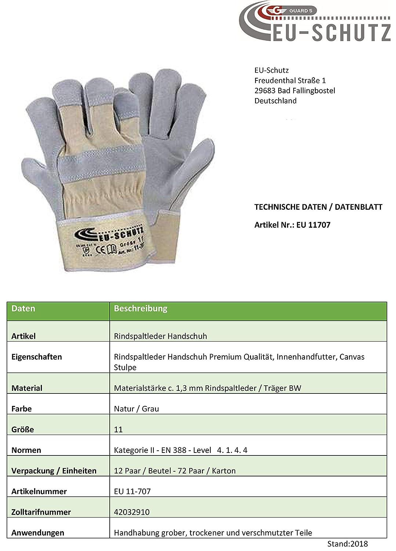 12 Paar Leder Handschuhe Premium Arbeitshandschuhe Robuster Schutzhandschuh mit Canvas-Stulpe