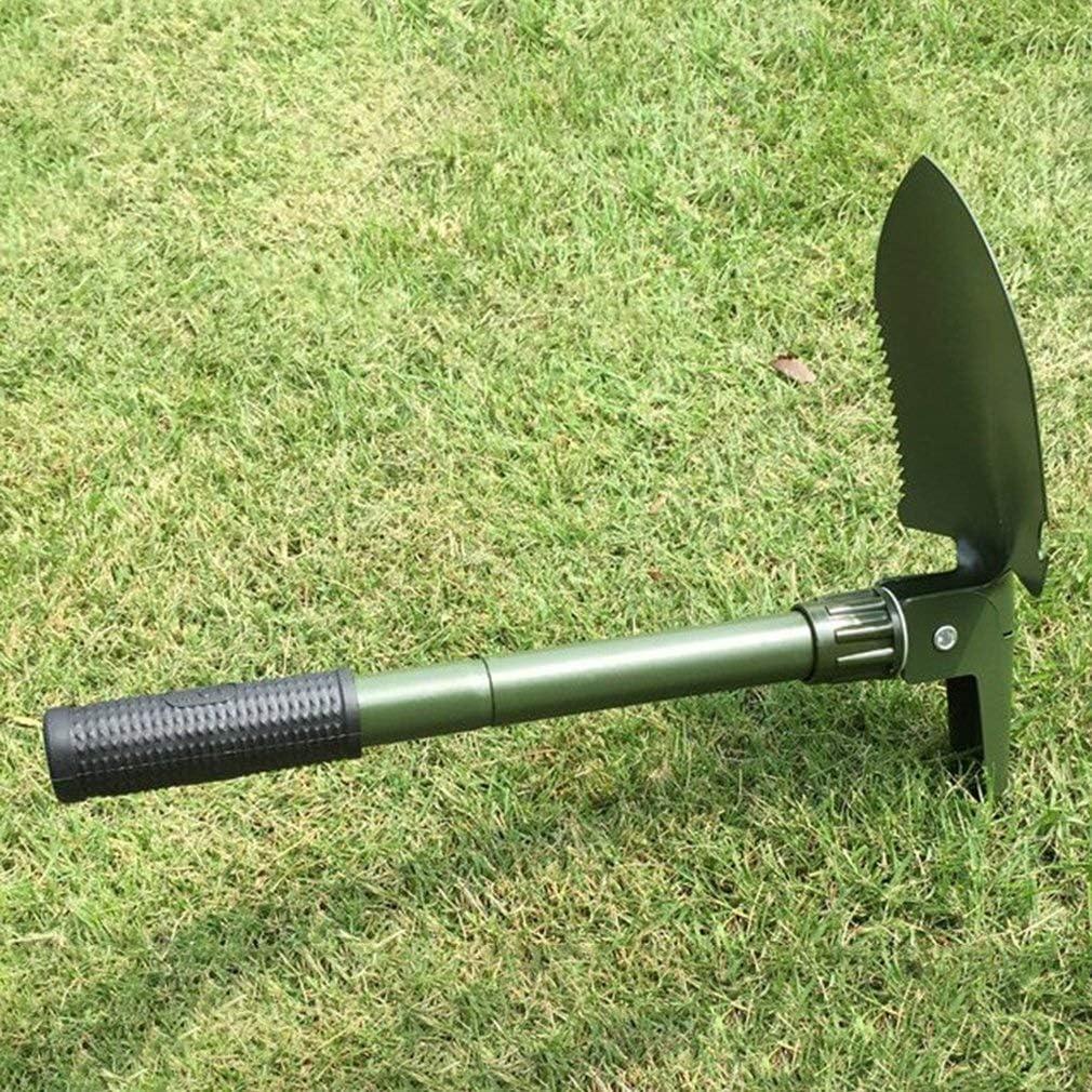 Jidan Trowel Spade with Non-Slip Duty Polished Stainless Folding Shovel Survival Spade Trowel Shovel Portable Garden Camping Outdoor Hand Tool (Color : Stick Bag Compass) Multi