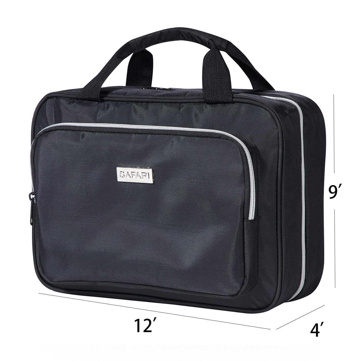 Black Comes with Drawstring Bag The Perfect Gift SAFARI Travel Bags - Durable Waterproof Nylon Organizer with Clear Compartments and Detatchable Pouch Large Hanging Travel Toiletry Bag for Men and Women by SAFARI