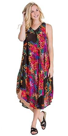 La Cera Plus Rayon Sleeveless Casual Trapeze Dress - Neon Twist at ...