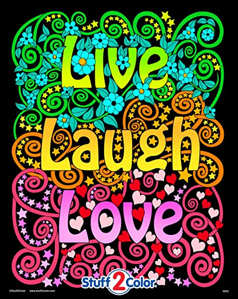 Amazon.com: Live Laugh Love - Fuzzy Velvet Coloring Poster For Kids,  Toddlers, And Adults - Great For Indoor Activities: Prints: Posters & Prints