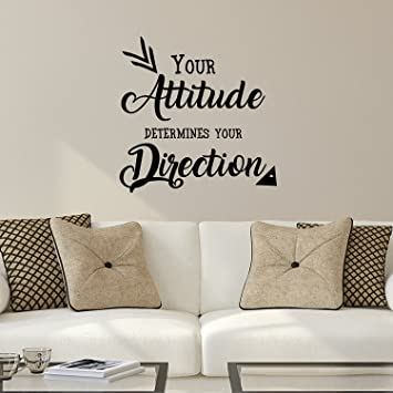 Your Attitude Determines Your Direction   Inspirational Quote   Wall Art  Decal   23u0026quot; X