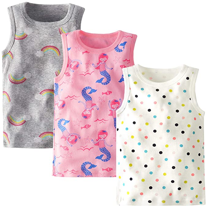 929f4bfec5cb11 BOOPH Girls Cotton Camis Tanks Top Dots Rainbow Sleeveless Undershirt for  Baby Toddler 2T